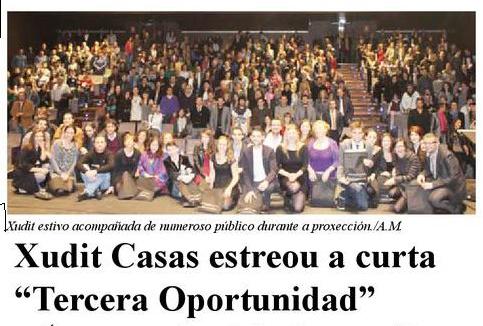 """El periódico Barrios se hizo eco del éxito de la presentación del cortometraje """"Tercera Oportunidad"""". Foto de A. M."""